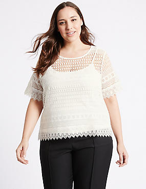 PLUS All Over Lace Short Sleeve Jersey Top