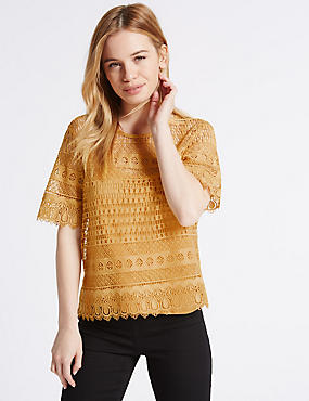 PETITE All Over Lace Half Sleeve Jersey Top