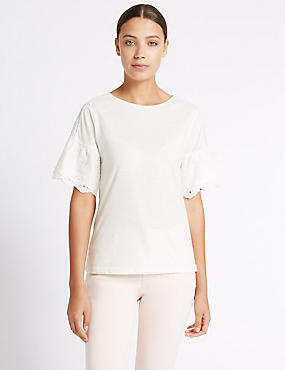 Pure Cotton Broderie Sleeve T-Shirt