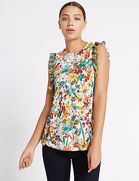 Floral Print Ruffle Sleeve Vest Top