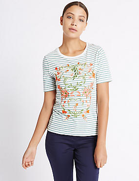 Cotton Rich Floral Embroidered T-Shirt