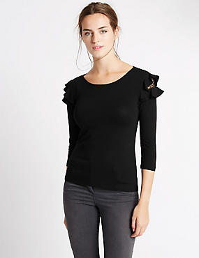 Lace Ruffle 3/4 Sleeve Jersey Top