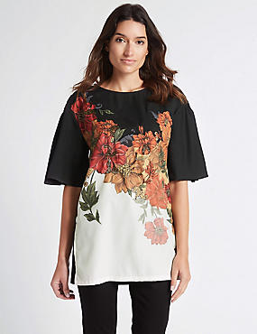 Floral Print Beaded Half Sleeve Tunic