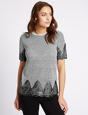 Cotton Blend Metallic Stripe Jersey Top