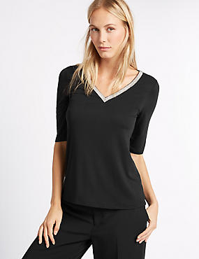 Embellished V-Neck Jersey Top