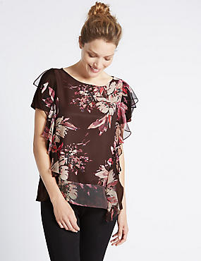 Printed Frill Short Sleeve Jersey Top