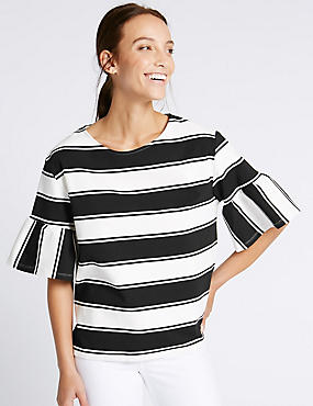PLUS Striped Flared Sleeve T-Shirt