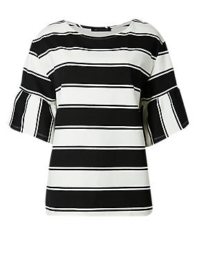 PETITE Striped Flare Sleeve T-Shirt