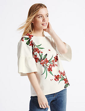 PETITE Floral Print Frill Sleeve T-Shirt
