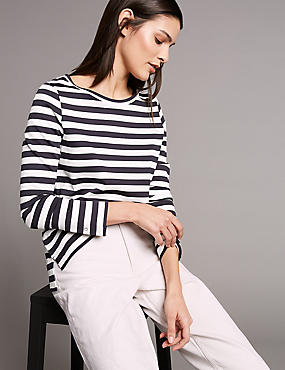 Striped Round Neck Long Sleeve Top , NAVY MIX, catlanding