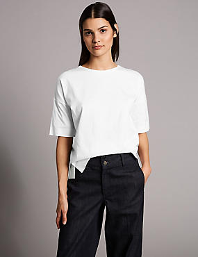 Pure Cotton Round Neck Half Sleeve T-Shirt , WHITE MIX, catlanding