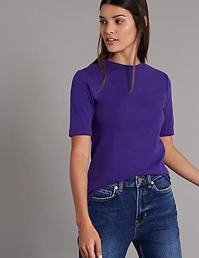 Pure Organic Cotton Round Neck T-Shirt, PURPLE, catlanding