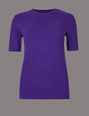 Pure Cotton Round Neck Short Sleeve T-Shirt, PURPLE, catlanding