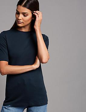 Pure Organic Cotton Round Neck T-Shirt, NAVY, catlanding