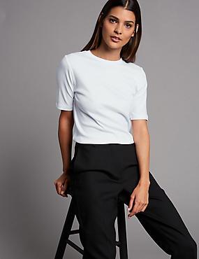 Pure Organic Cotton Round Neck T-Shirt, SOFT WHITE, catlanding