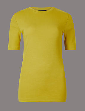 Pure Organic Cotton Round Neck T-Shirt, CHARTREUSE, catlanding
