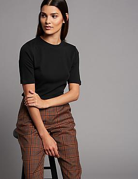 Pure Organic Cotton Round Neck T-Shirt, BLACK, catlanding