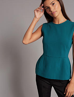 Peplum Back Zip Sleeveless Shell Top