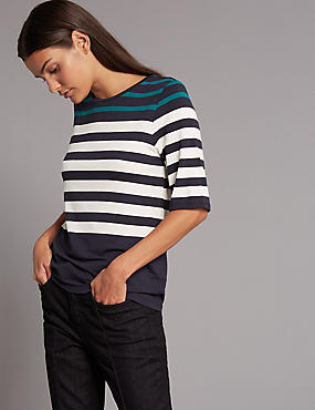Colour Block Striped Half Sleeve T-Shirt