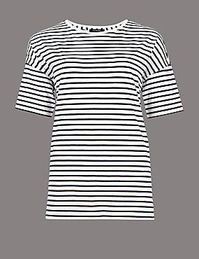 Pure Cotton Striped Short Sleeve Top , WHITE MIX, catlanding