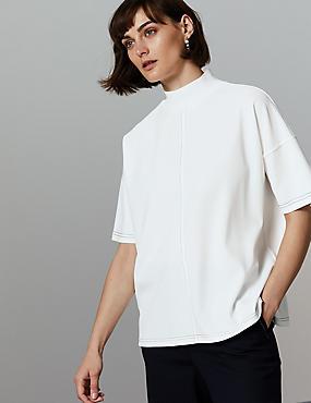 Funnel Neck Half Sleeve Top, WINTER WHITE, catlanding