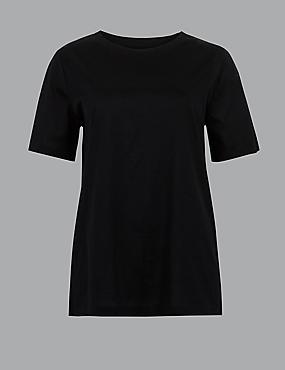 Pure Cotton Round Neck Short Sleeve T-Shirt, BLACK, catlanding
