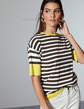 Pure Cotton Striped Half Sleeve Top , YELLOW MIX, catlanding