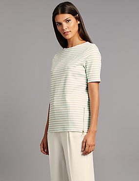 Striped Ponte Short Sleeve T-Shirt
