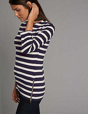 Striped Round Neck 3/4 Sleeve T-Shirt
