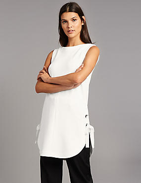 Eyelet Tie Detail Sleeveless Tunic