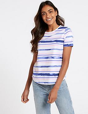 Pure Cotton Striped Short Sleeve T-Shirt , BLUE MIX, catlanding