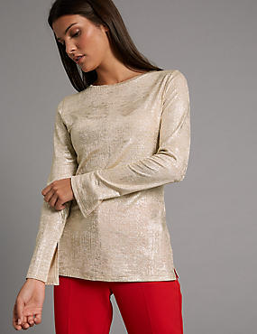 Metallic Round Neck Long Sleeve T-Shirt