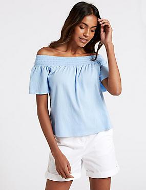 Cotton Rich Short Sleeve Bardot Top , LIGHT BLUE, catlanding