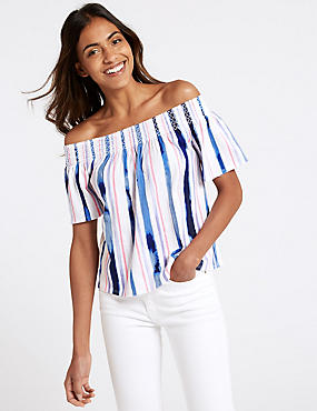 Cotton Rich Striped Short Sleeve Bardot Top, IVORY MIX, catlanding