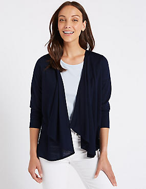 Waterfall Long Sleeve Cardigan, NAVY, catlanding