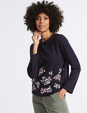 Cotton Blend Floral Print Sweatshirt , NAVY MIX, catlanding