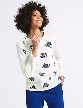 Cotton Blend Floral Print Sweatshirt , IVORY MIX, catlanding