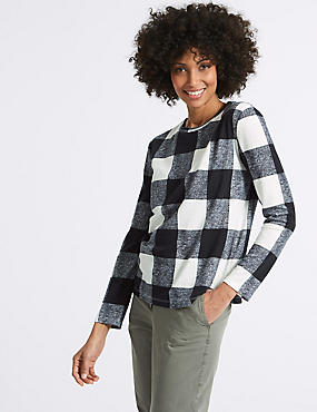 Checked Round Neck Long Sleeve Sweatshirt, NAVY MIX, catlanding
