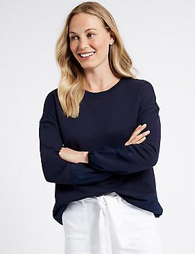 Cotton Rich Round Neck Sweatshirt, NAVY, catlanding
