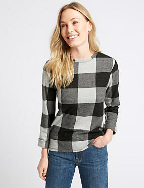 Checked Round Neck Long Sleeve Sweatshirt, GREY MIX, catlanding