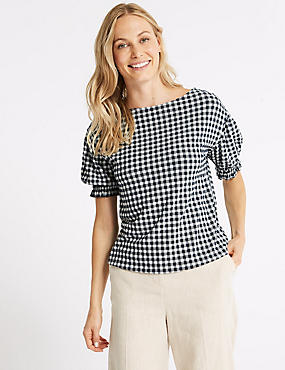 Gingham Ruched Sleeve Top, NAVY MIX, catlanding