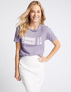 Pure Cotton Printed Short Sleeve T-Shirt, LAVENDER MIX, catlanding