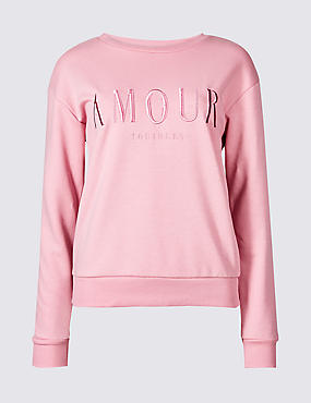 Cotton Rich Embroidered Sweatshirt, PINK MIX, catlanding