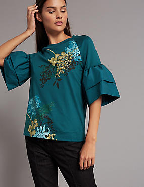 Floral Print Flute Sleeve T-Shirt