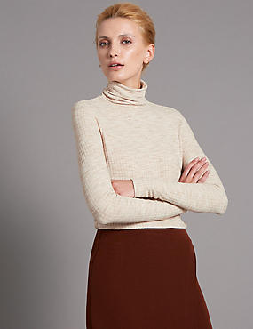 Loose Fit Roll Neck Jersey Top