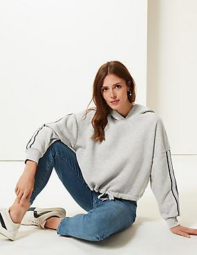 Cotton Blend Long Sleeve Cropped Sweatshirt, GREY MARL, catlanding