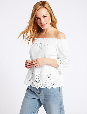 PETITE Pure Cotton Embroidered Bardot Top , WHITE, catlanding
