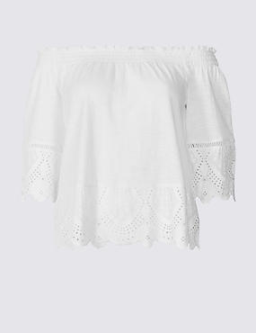 PETITE Pure Cotton Embroidered Bardot Top , WHITE, catlanding