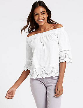 Pure Cotton Embroidered Bardot Top , WHITE, catlanding