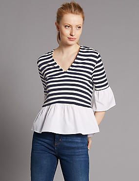 Striped V-Neck Flared Sleeve Blouse